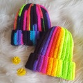 Selling with online payment: Rainbow Foldover Brimmed Beanie Hat