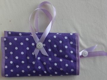Vente au détail: Protège livre en tissu violet et parme