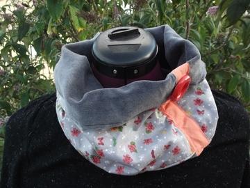 Vente au détail: Snood écharpe gris et papillons