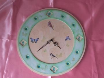 Vente au détail: Pendule ronde pastel et ses oiseaux