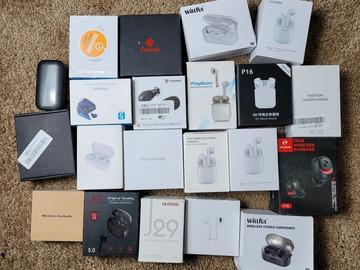 Buy Now: Lot of 21 UNTESTED Wireless headphones customer return