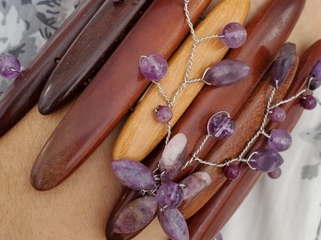 Selling with online payment: Amethyst on Wood Floral Bracelet