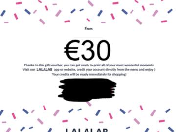 Vente: e-Carte cadeau Lalalab (30€)