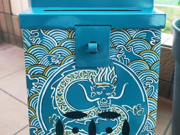 : Mailbox : White & Gold Dragon on Turquoise background.