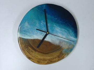 : Fir Wood Cookie Ocean Clock