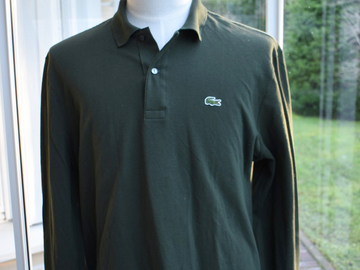 Online payment: Lacoste, green polo shirt, size XXL (6), long sleeves, superb