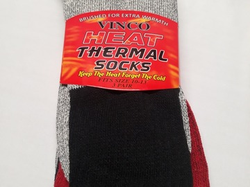 Liquidation/Wholesale Lot: CLOSEOUT! Thermal Socks 3Pack 1 Red/Grey, 1 Blue/Grey, 1 Black/G