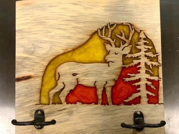 """Selling with online payment: """"Sunset In The Pines"""" Deer and Epoxy Wall Rack"""