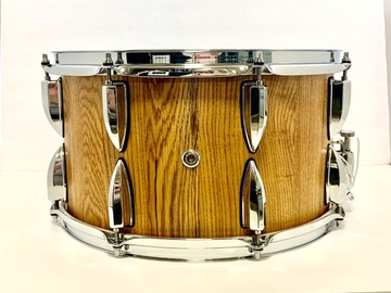 Selling with online payment: 15 x 8 custom stave solid oak snare drum, stained golden oak.