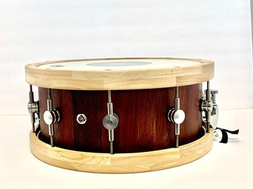 Selling with online payment: 14x6 custom stave solid maple snare with custom wooden hoops