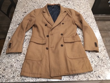 Selling with online payment: JACKThreads Double-Breasted Camel Overcoat