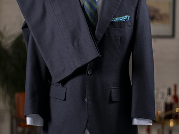 Selling with online payment: Suit MAXWELL'S handmade – Pure wool – 2 Buttons – Plain blue – S