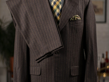 Selling with online payment: SAMUELSOHN – Wool and Cashmere – 3 Buttons – Chalk stripe - L –