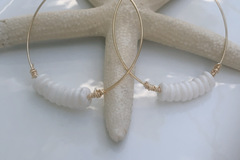 Selling with online payment: Gold Heishi White Shell Hoops & Puka Shell Hoops