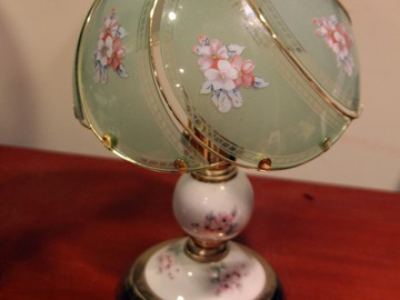 For Sale: Working Floral Jade Colored Lamp