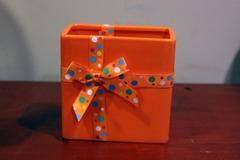 For Sale: Rectangular Orange Vase