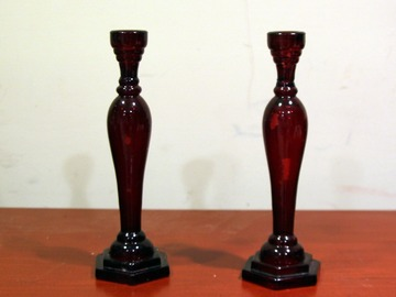 For Sale: Pair of Red Candle Holders