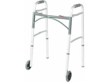 SALE: Deluxe Adult Folding Walker, Two Button with 5″ Front Wheels