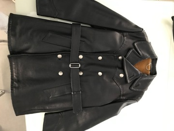 Online payment: Leather horsehide belted Peacoat - 44UK