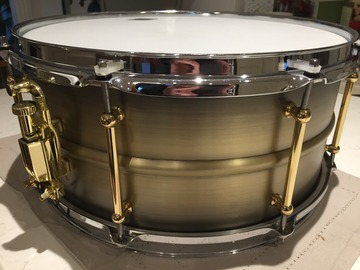 "Selling with online payment: ""WORLD MAX""  14"" X 6.5"" BRASS SNARE DRUM Circa 2016"