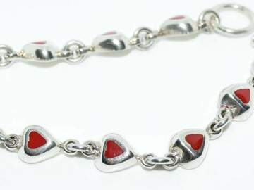 Selling with online payment: Sterling Red Enamel Heart Bracelet