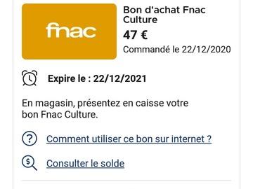 Vente: Chèques Culture Fnac (47€)