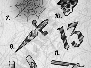 Tattoo design: 10 - Skull and Top Hat