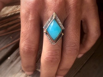 Selling: Sky Blue Chalcedony Stacking Ring, Custom Finished