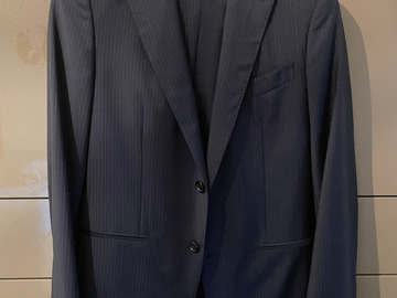 Online payment: Caruso navy with grey pinstripes suit UK36