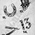 Tattoo design: 14 - Metallic style 'thirteen'