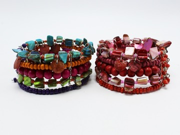 Liquidation/Wholesale Lot: 24 New Mixed Media Shell Open Ended Cuff Bracelets