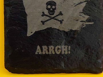 Selling with online payment: Slate - Laser engraved coasters - Pirate - 4 pack