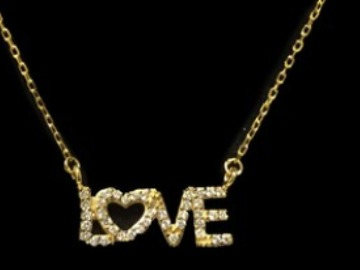 """Selling with online payment: Sterling Gold Plated """"Love""""  Necklace"""