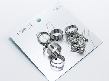 Liquidation/Wholesale Lot: Dozen Silver Ring Sets by Rue 21 (144 rings total )