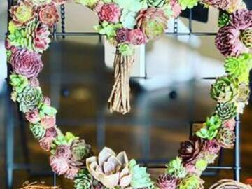 Selling with online payment: Living Succulent Heart Wreath