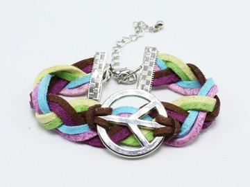 Liquidation/Wholesale Lot: 100 New Colorful Suede Leather Peace Sign Bracelets