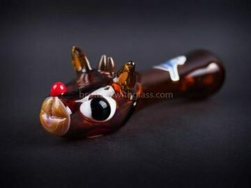 Post Products: Chameleon Glass Holiday Rudolph Hand Pipe