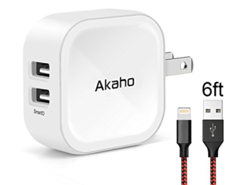 Buy Now: Akaho iPhone Charger 2.4A 12W Dual USB Wall Charger 6ft Lightning
