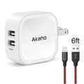 Liquidation/Wholesale Lot: Akaho iPhone Charger 2.4A 12W Dual USB Wall Charger 6ft Lightning