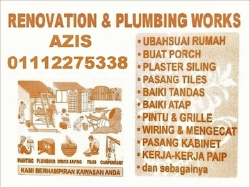 Services: plumbing dan renovation 01112275338 azis area gombak setia