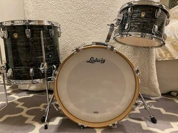 Selling with online payment: Ludwig Black Oyster Pearl  3 Piece w Humes Berg Bags OFFERS  OPEN
