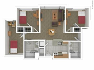 List Your Space: Bedroom and single bathroom in a 3x2 in South Campus Commons 7
