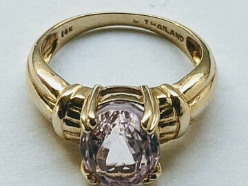 Women: 14k Solid Gold Kunzanite Ring