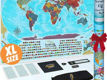 Buy Now: XL Scratch Off Map Of The World Lot of 30