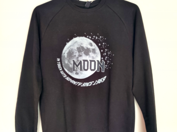 Selling with online payment: Black Sweatshirt Organic Cotton Fairtrade Moon Space Print Super