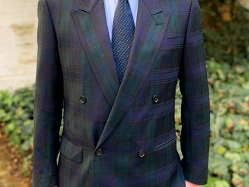 Online payment: Double breasted black watch tartan jacket, made in Italy - 40UK