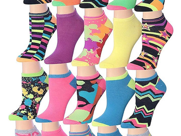Buy Now: 60 Pairs Colorful Patterned Low Cut/No Show Socks