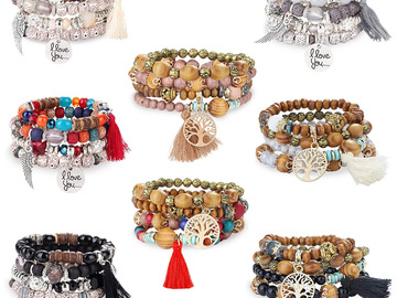 Compra Ahora: 16 Bohemian Stackable Wood Beads Bracelets for Women