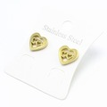 Liquidation/Wholesale Lot: Dozen Gold Stainless Steel Heart Stud Earrings E1354