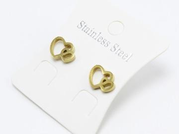 Liquidation/Wholesale Lot: Dozen New Gold Stainless Steel Stud Earrings #E1368